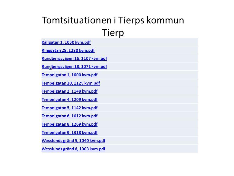 Tomtsituationen i Tierps kommun Tierp Källgatan 1, 1050 kvm.pdf Ringgatan 28, 1230 kvm.pdf Rundbergsvägen 16, 1107 kvm.pdf Rundbergsvägen 18, 1071 kvm