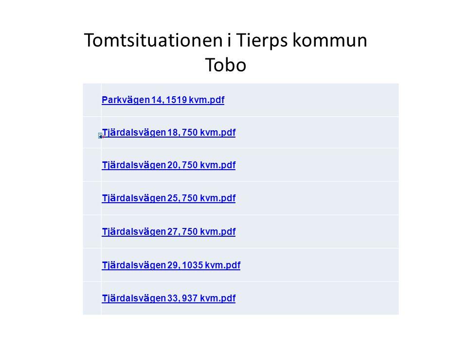 Tomtsituationen i Tierps kommun Tobo Parkv ä gen 14, 1519 kvm.pdf Tj ä rdalsv ä gen 18, 750 kvm.pdf Tj ä rdalsv ä gen 20, 750 kvm.pdf Tj ä rdalsv ä ge