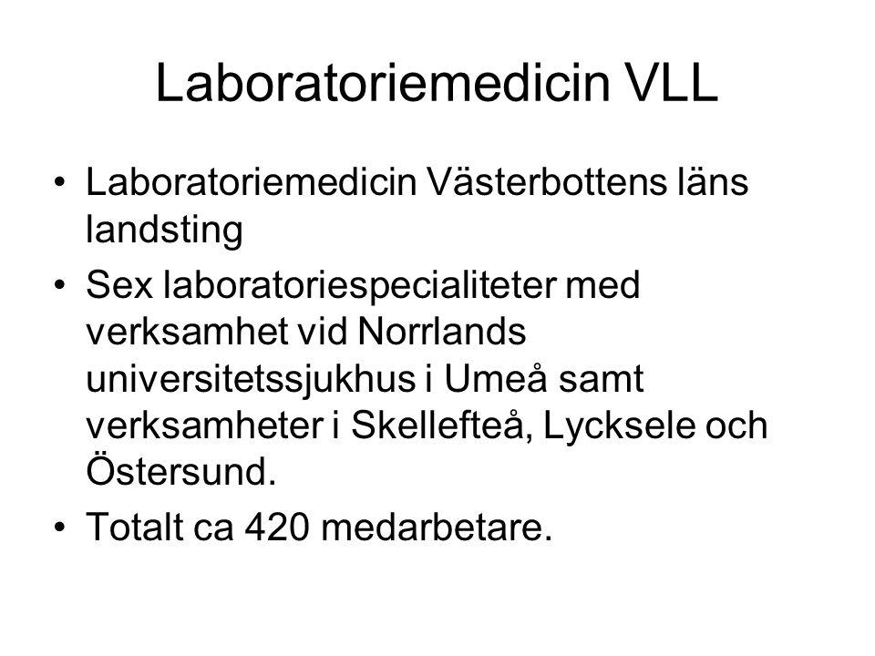 Laboratoriemedicin VLL •Laboratoriemedicin Västerbottens läns landsting •Sex laboratoriespecialiteter med verksamhet vid Norrlands universitetssjukhus