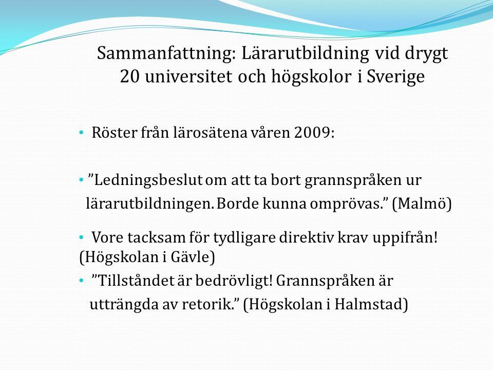 """• Röster från lärosätena våren 2009: • """"Ledningsbeslut om att ta bort grannspråken ur lärarutbildningen. Borde kunna omprövas."""" (Malmö) • Vore tacksam"""