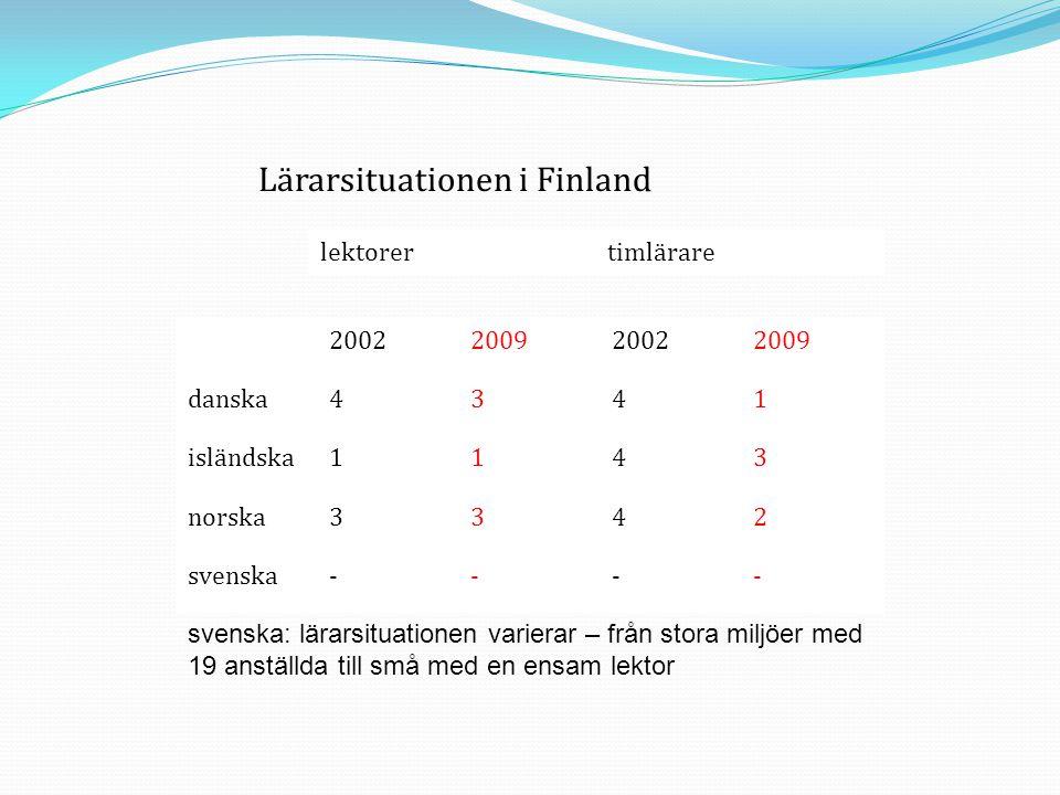 Lärarsituationen i Finland lektorertimlärare 2002200920022009 danska4341 isländska1143 norska3342 svenska---- svenska: lärarsituationen varierar – frå