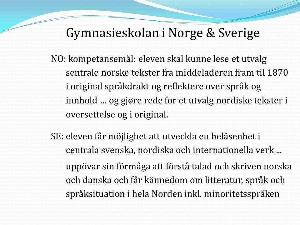 Gymnasieskolan i Norge & Sverige NO: kompetansemål: eleven skal kunne lese et utvalg sentrale norske tekster fra middeladeren fram til 1870 i original