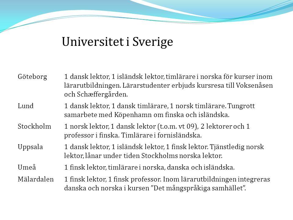 Göteborg1 dansk lektor, 1 isländsk lektor, timlärare i norska för kurser inom lärarutbildningen. Lärarstudenter erbjuds kursresa till Voksenåsen och S