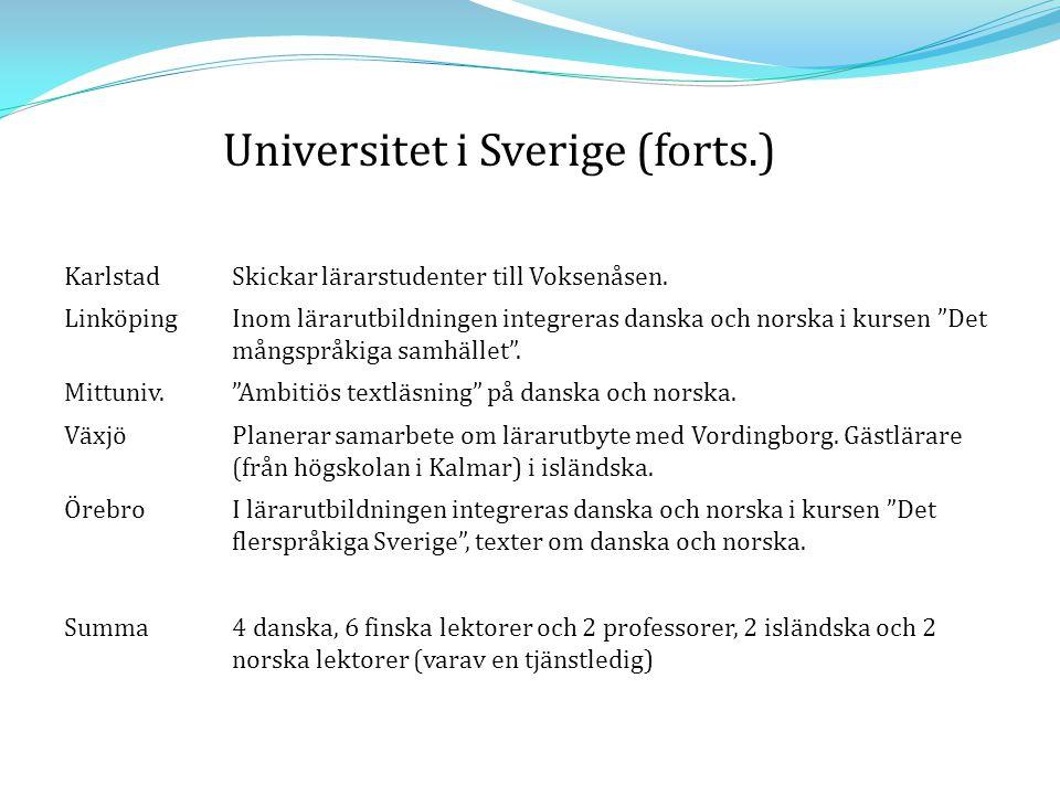 Sammanfattning antal aktiva lektorer & professorer 20022009 danska1112 finska*1011 färöiska11 isländska64 norska116 svenska**64 * Sverige inte medräknat ** Finland inte medräknat