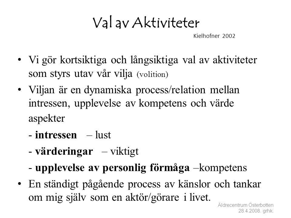 Val av Aktiviteter Kielhofner 2002 • Vi gör kortsiktiga och långsiktiga val av aktiviteter som styrs utav vår vilja (volition) • Viljan är en dynamisk