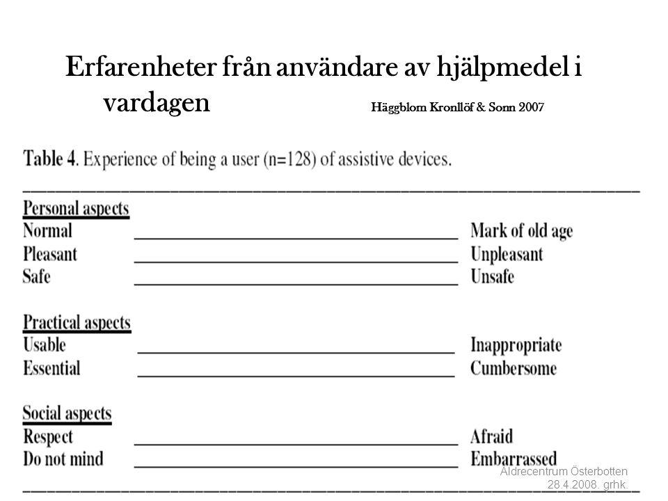 Erfarenheter från användare av hjälpmedel i vardagen Häggblom Kronllöf & Sonn 2007 Äldrecentrum Österbotten 28.4.2008. grhk.
