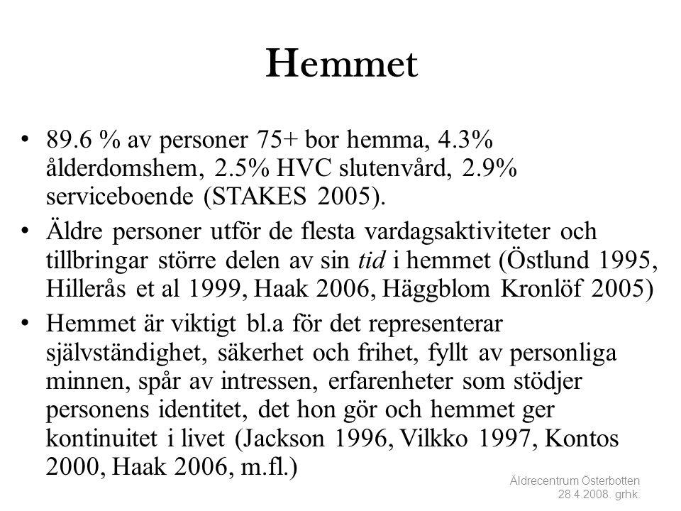 Hemmet • 89.6 % av personer 75+ bor hemma, 4.3% ålderdomshem, 2.5% HVC slutenvård, 2.9% serviceboende (STAKES 2005). • Äldre personer utför de flesta