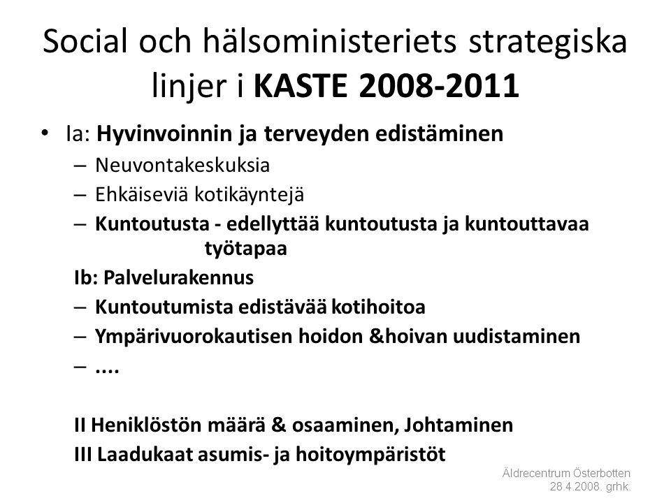 Social och hälsoministeriets strategiska linjer i KASTE 2008-2011 • Ia: Hyvinvoinnin ja terveyden edistäminen – Neuvontakeskuksia – Ehkäiseviä kotikäyntejä – Kuntoutusta - edellyttää kuntoutusta ja kuntouttavaa työtapaa Ib: Palvelurakennus – Kuntoutumista edistävää kotihoitoa – Ympärivuorokautisen hoidon &hoivan uudistaminen –....