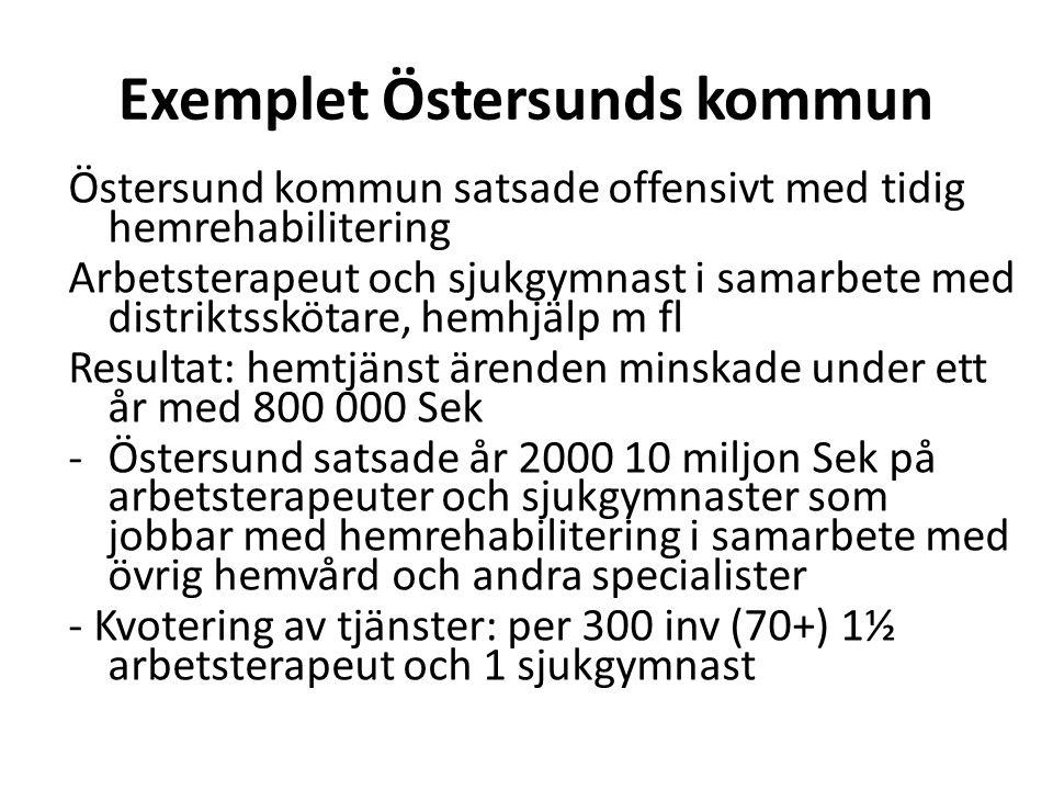 Exemplet Östersunds kommun Östersund kommun satsade offensivt med tidig hemrehabilitering Arbetsterapeut och sjukgymnast i samarbete med distriktsskötare, hemhjälp m fl Resultat: hemtjänst ärenden minskade under ett år med 800 000 Sek -Östersund satsade år 2000 10 miljon Sek på arbetsterapeuter och sjukgymnaster som jobbar med hemrehabilitering i samarbete med övrig hemvård och andra specialister - Kvotering av tjänster: per 300 inv (70+) 1½ arbetsterapeut och 1 sjukgymnast Äldr ecen trum Öste rbott en 28.4.