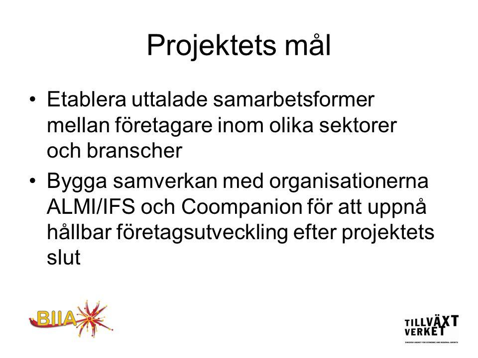 Projektets mål •Etablera uttalade samarbetsformer mellan företagare inom olika sektorer och branscher •Bygga samverkan med organisationerna ALMI/IFS och Coompanion för att uppnå hållbar företagsutveckling efter projektets slut