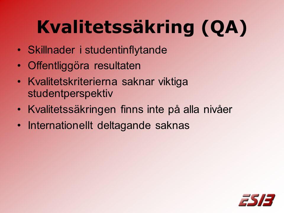 Kvalitetssäkring (QA) •Skillnader i studentinflytande •Offentliggöra resultaten •Kvalitetskriterierna saknar viktiga studentperspektiv •Kvalitetssäkringen finns inte på alla nivåer •Internationellt deltagande saknas