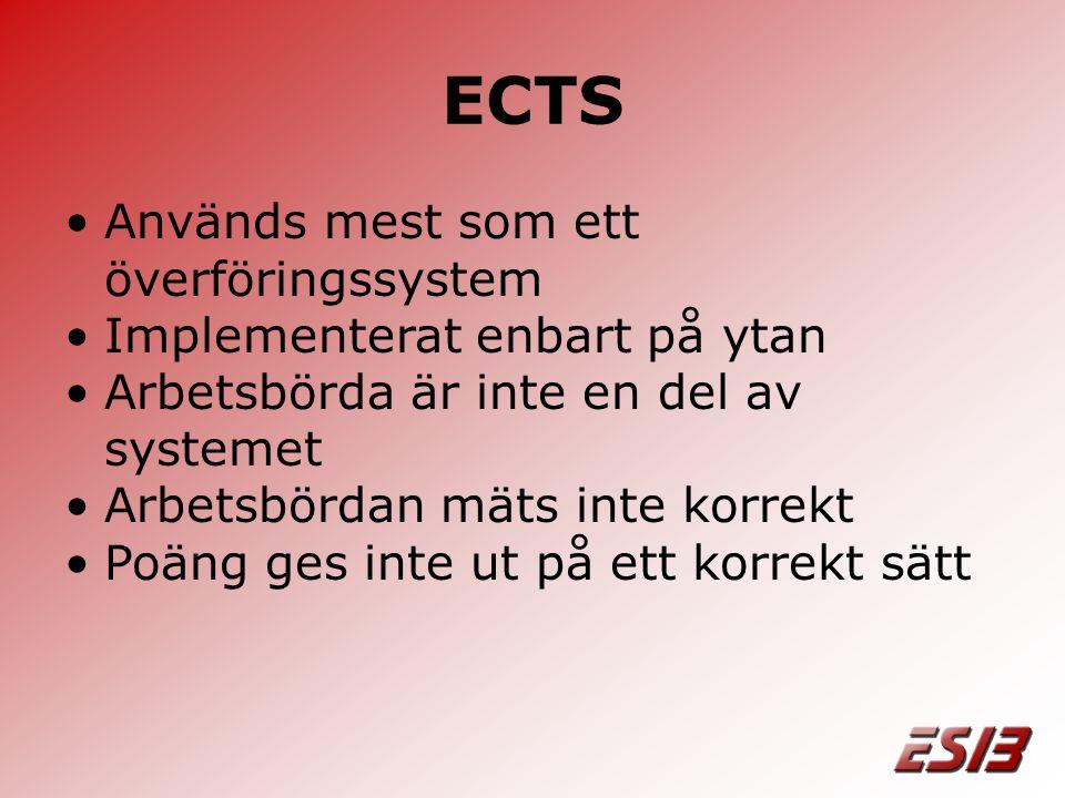 ECTS •Används mest som ett överföringssystem •Implementerat enbart på ytan •Arbetsbörda är inte en del av systemet •Arbetsbördan mäts inte korrekt •Poäng ges inte ut på ett korrekt sätt