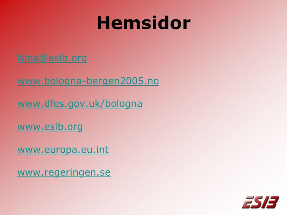 Hemsidor Nina@esib.org www.bologna-bergen2005.no www.dfes.gov.uk/bologna www.esib.org www.europa.eu.int www.regeringen.se