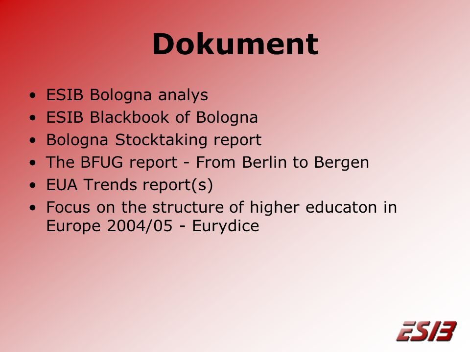 Dokument •ESIB Bologna analys •ESIB Blackbook of Bologna •Bologna Stocktaking report •The BFUG report - From Berlin to Bergen •EUA Trends report(s) •Focus on the structure of higher educaton in Europe 2004/05 - Eurydice