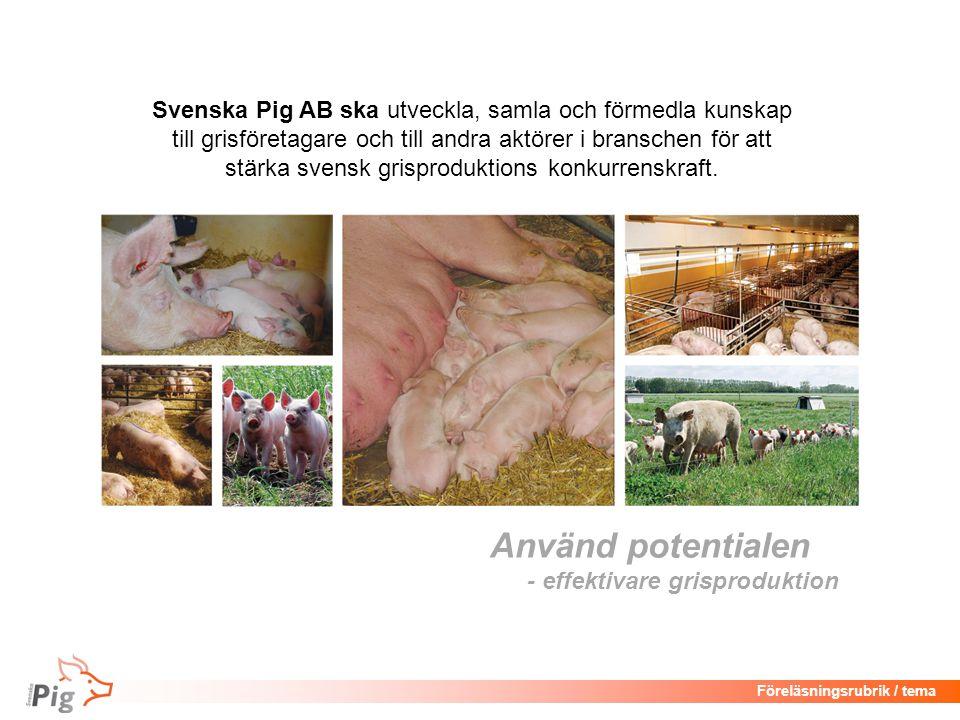 Föreläsningsrubrik / tema Använd potentialen - effektivare grisproduktion Svenska Pig AB ska utveckla, samla och förmedla kunskap till grisföretagare