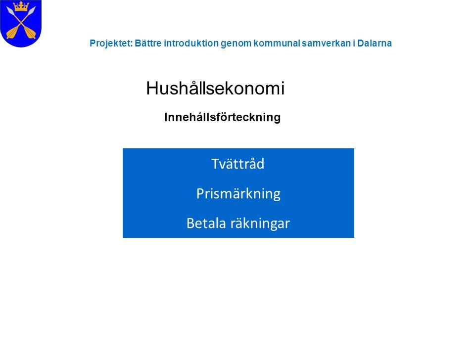 Projektet: Bättre introduktion genom kommunal samverkan i Dalarna Hushållsekonomi Innehållsförteckning Tvättråd Prismärkning Betala räkningar