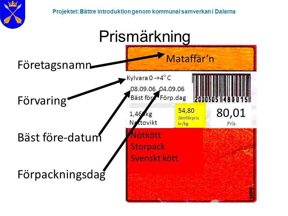 Projektet: Bättre introduktion genom kommunal samverkan i Dalarna Prismärkning Företagsnamn Förvaring Bäst före-datum Förpackningsdag Mataffär'n Nötkö