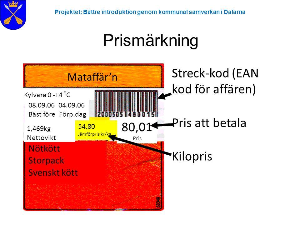 Projektet: Bättre introduktion genom kommunal samverkan i Dalarna Prismärkning Mataffär'n Nötkött Storpack Svenskt kött Kylvara 0 -+4 C 08.09.06 04.09