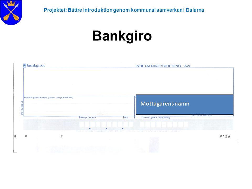 Projektet: Bättre introduktion genom kommunal samverkan i Dalarna Bankgiro Mottagarens namn