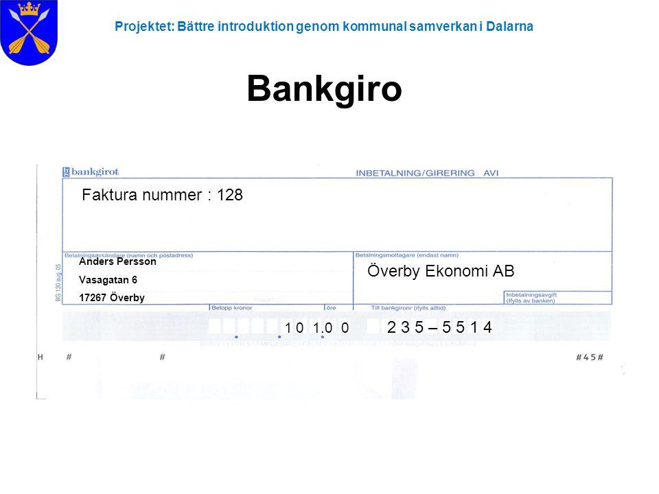 Projektet: Bättre introduktion genom kommunal samverkan i Dalarna Bankgiro Överby Ekonomi AB 1 0 1.0 0 Faktura nummer : 128 Anders Persson Vasagatan 6