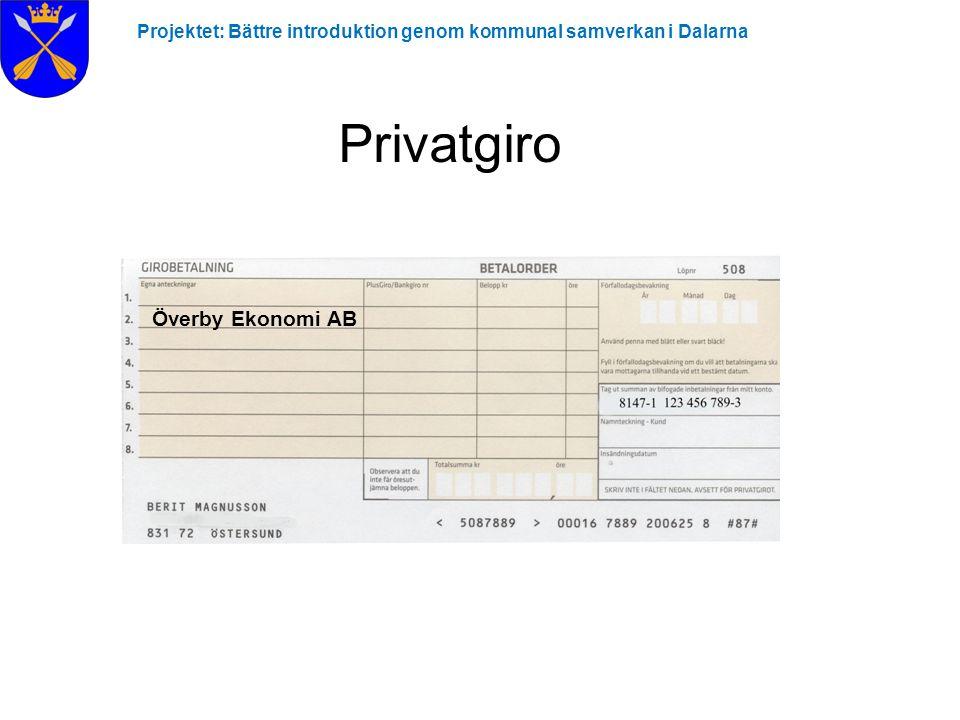 Projektet: Bättre introduktion genom kommunal samverkan i Dalarna Privatgiro Överby Ekonomi AB
