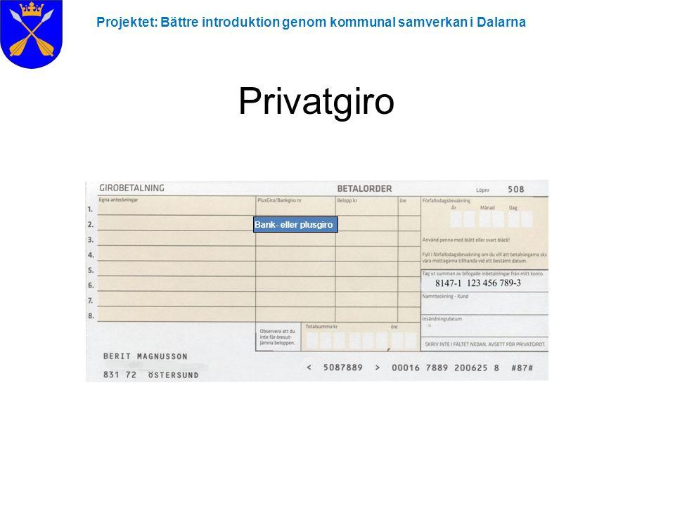 Projektet: Bättre introduktion genom kommunal samverkan i Dalarna Privatgiro Bank- eller plusgiro