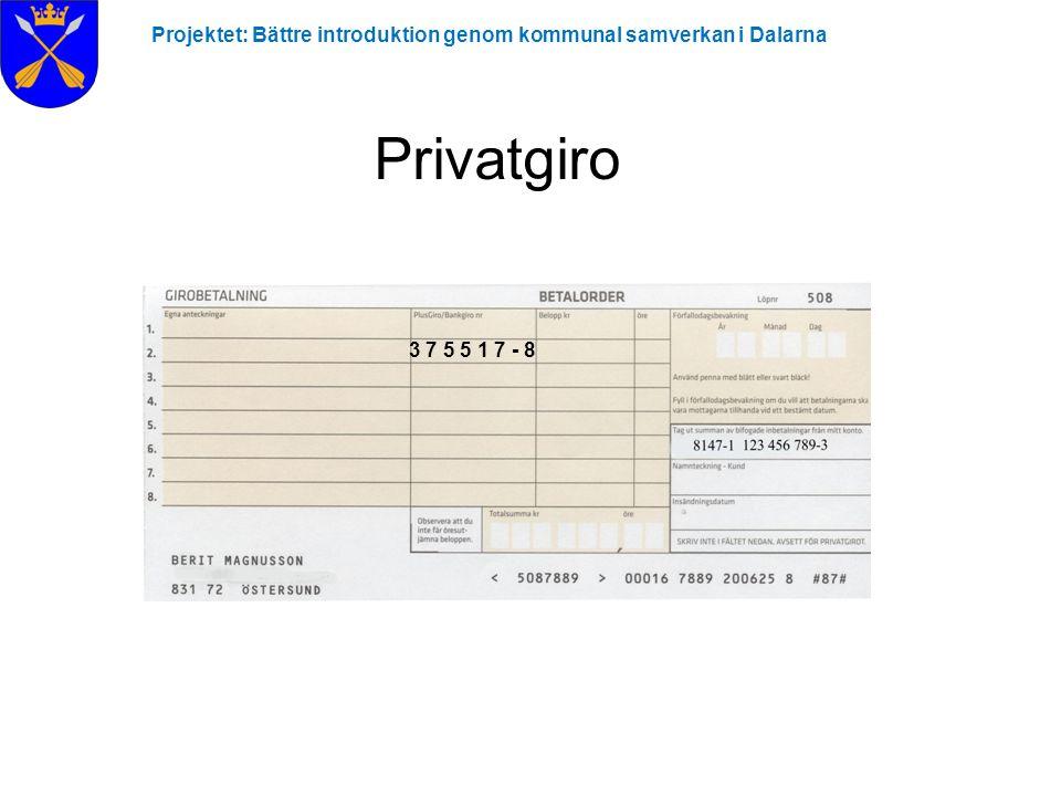 Projektet: Bättre introduktion genom kommunal samverkan i Dalarna Privatgiro 3 7 5 5 1 7 - 8