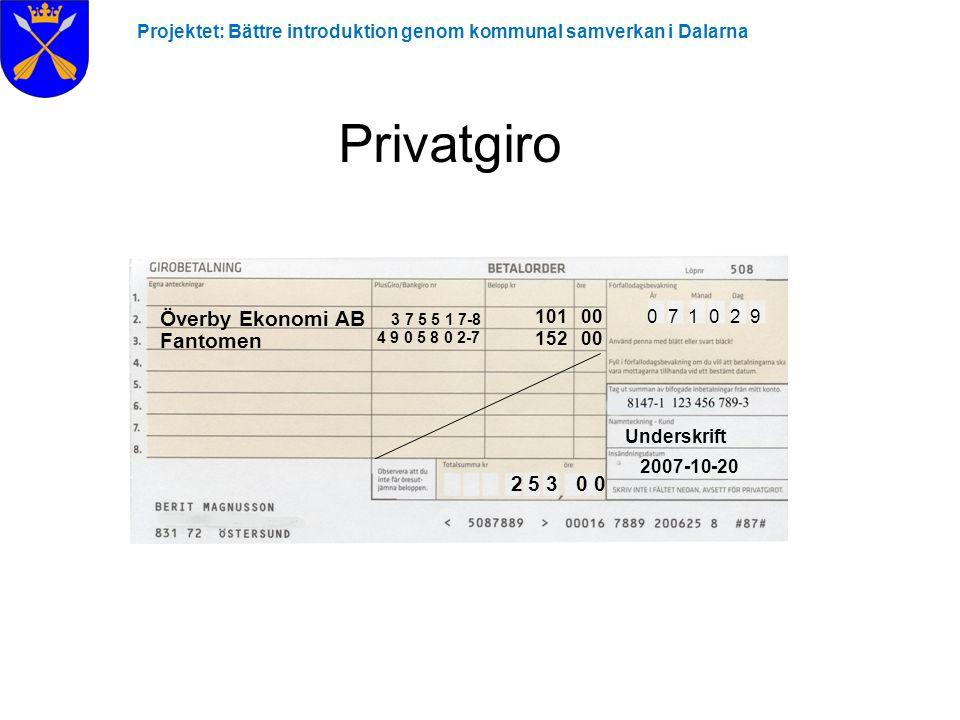 Projektet: Bättre introduktion genom kommunal samverkan i Dalarna Privatgiro Överby Ekonomi AB Fantomen 4 9 0 5 8 0 2-7 3 7 5 5 1 7-8 101 00 152 00 0