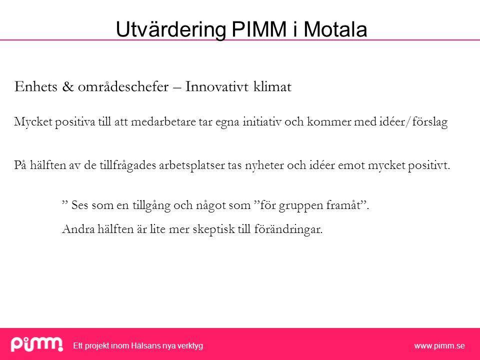 Ett projekt inom Hälsans nya verktyg www.pimm.se Enhets & områdeschefer – Innovativt klimat Mycket positiva till att medarbetare tar egna initiativ och kommer med idéer/förslag På hälften av de tillfrågades arbetsplatser tas nyheter och idéer emot mycket positivt.