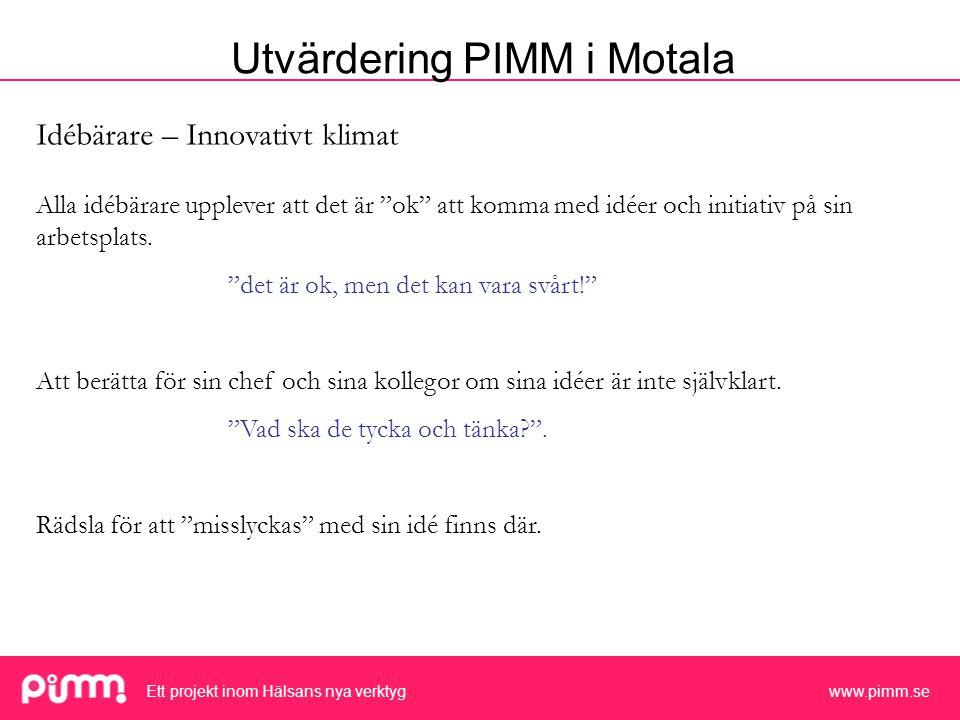 Ett projekt inom Hälsans nya verktyg www.pimm.se Idébärare – Innovativt klimat Alla idébärare upplever att det är ok att komma med idéer och initiativ på sin arbetsplats.