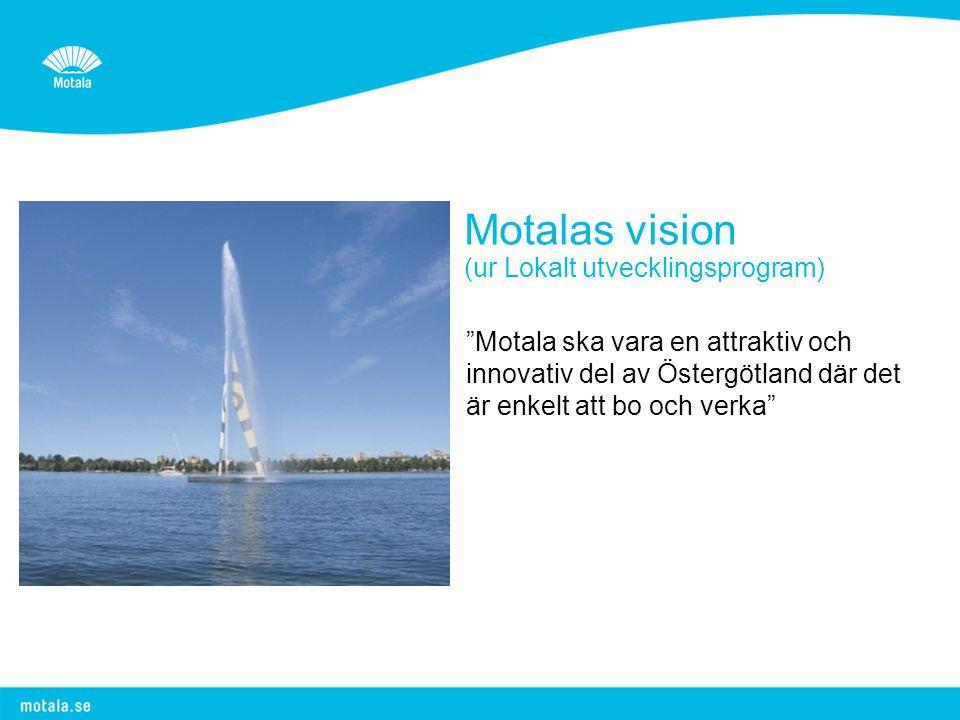 Motalas vision (ur Lokalt utvecklingsprogram) Motala ska vara en attraktiv och innovativ del av Östergötland där det är enkelt att bo och verka