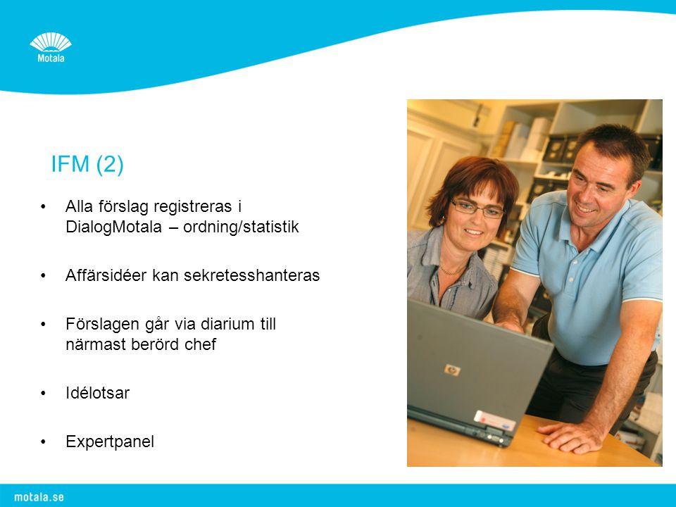IFM (2) •Alla förslag registreras i DialogMotala – ordning/statistik •Affärsidéer kan sekretesshanteras •Förslagen går via diarium till närmast berörd chef •Idélotsar •Expertpanel