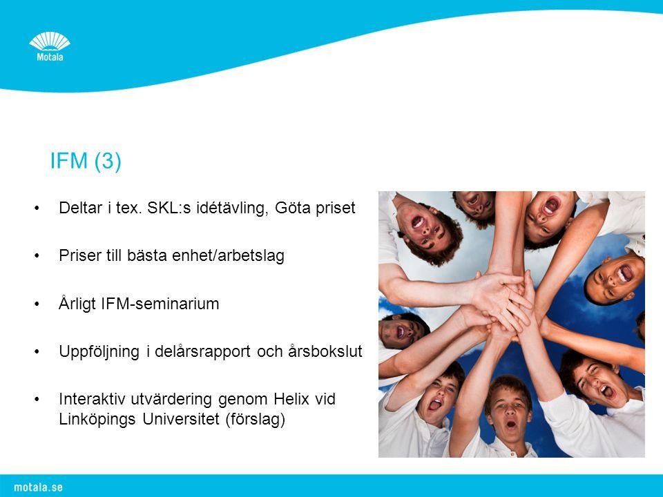 IFM (3) •Deltar i tex. SKL:s idétävling, Göta priset •Priser till bästa enhet/arbetslag •Årligt IFM-seminarium •Uppföljning i delårsrapport och årsbok