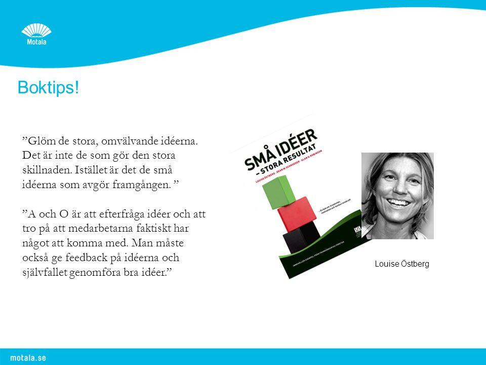 """Boktips! Louise Östberg """"Glöm de stora, omvälvande idéerna. Det är inte de som gör den stora skillnaden. Istället är det de små idéerna som avgör fram"""