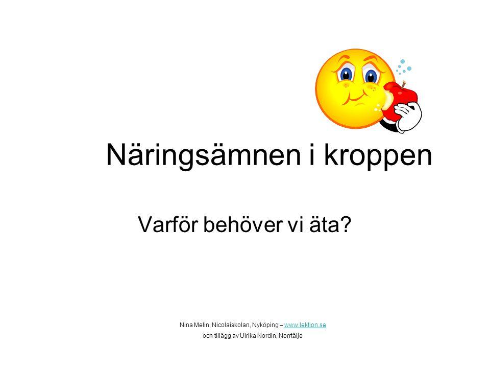 Näringsämnen i kroppen Varför behöver vi äta? Nina Melin, Nicolaiskolan, Nyköping – www.lektion.sewww.lektion.se och tillägg av Ulrika Nordin, Norrtäl