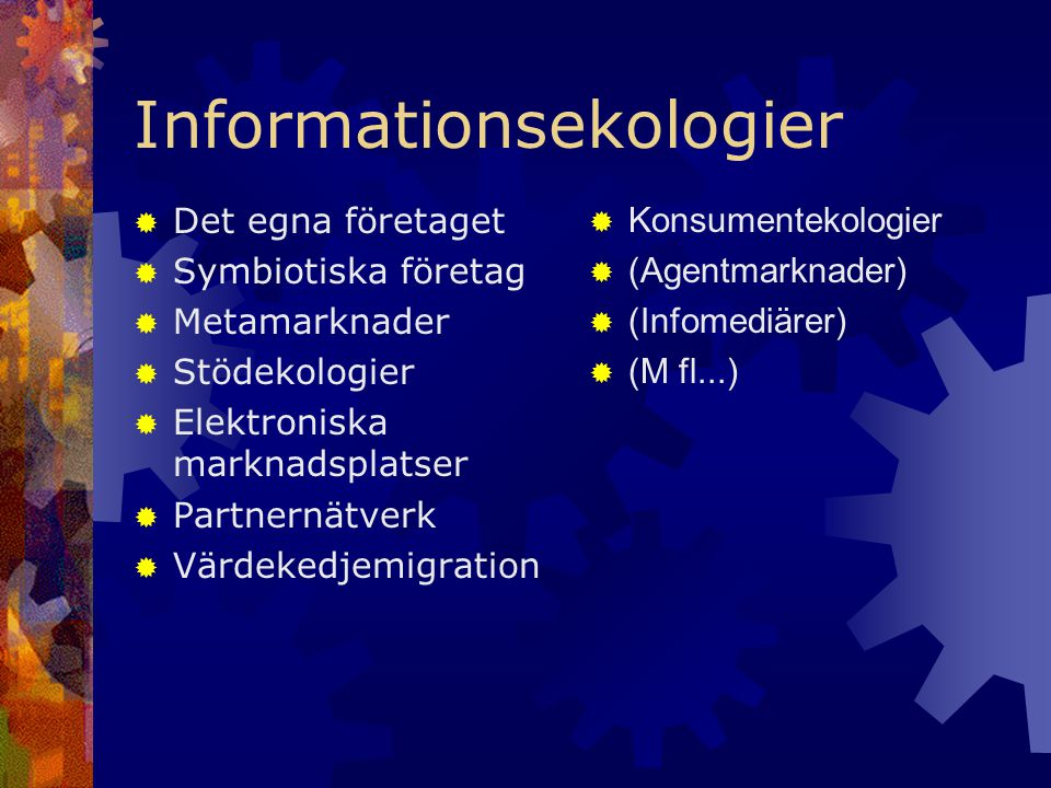 Informationsekologier  Det egna företaget  Symbiotiska företag  Metamarknader  Stödekologier  Elektroniska marknadsplatser  Partnernätverk  Värdekedjemigration  Konsumentekologier  (Agentmarknader)  (Infomediärer)  (M fl...)