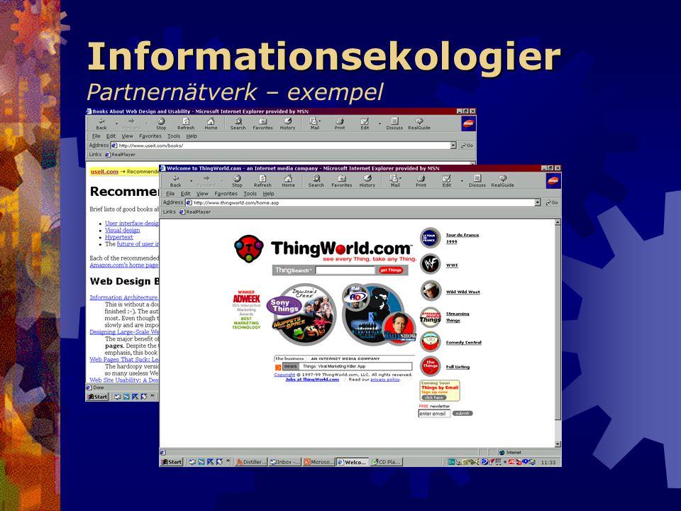 Informationsekologier Informationsekologier Partnernätverk – exempel