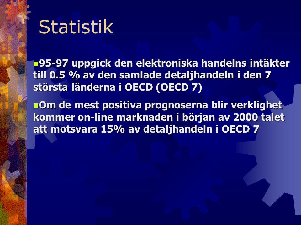 n 95-97 uppgick den elektroniska handelns intäkter till 0.5 % av den samlade detaljhandeln i den 7 största länderna i OECD (OECD 7) n Om de mest positiva prognoserna blir verklighet kommer on-line marknaden i början av 2000 talet att motsvara 15% av detaljhandeln i OECD 7