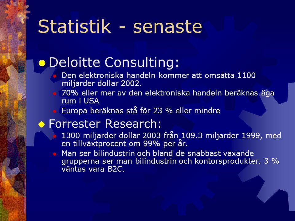 Statistik - senaste  Deloitte Consulting:  Den elektroniska handeln kommer att omsätta 1100 miljarder dollar 2002.  70% eller mer av den elektronis