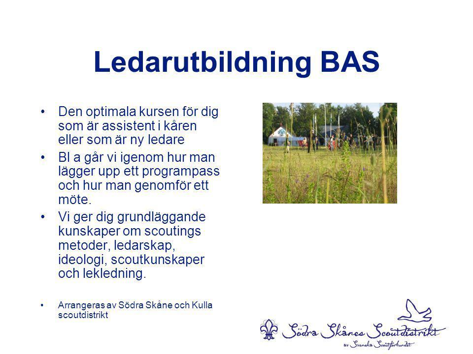 Ledarutbildning BAS •Den optimala kursen för dig som är assistent i kåren eller som är ny ledare •Bl a går vi igenom hur man lägger upp ett programpass och hur man genomför ett möte.