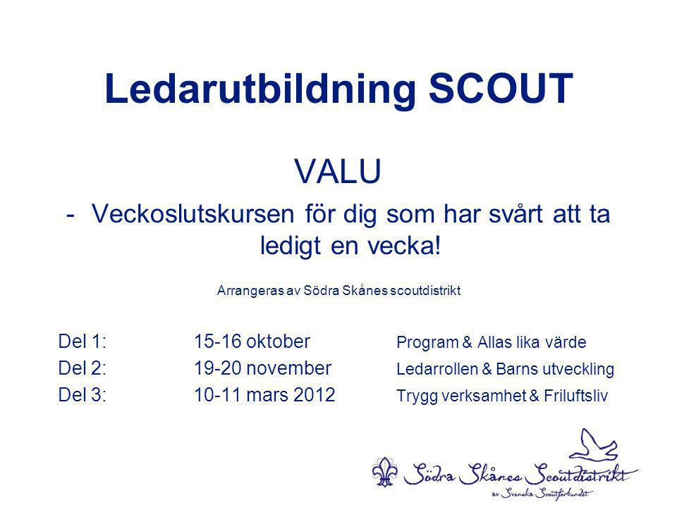 Ledarutbildning SCOUT VALU -Veckoslutskursen för dig som har svårt att ta ledigt en vecka.