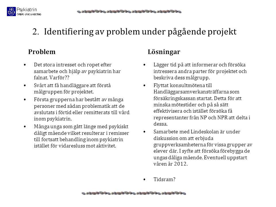 2. Identifiering av problem under pågående projekt •Det stora intresset och ropet efter samarbete och hjälp av psykiatrin har falnat. Varför?? •Svårt