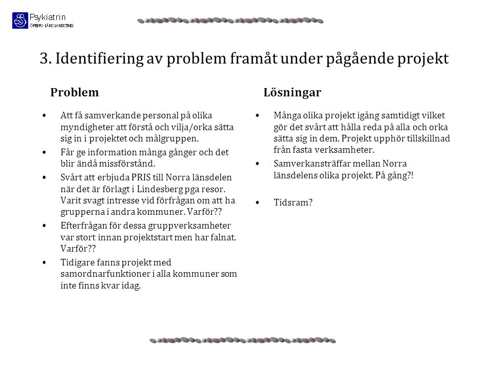 3. Identifiering av problem framåt under pågående projekt •Att få samverkande personal på olika myndigheter att förstå och vilja/orka sätta sig in i p