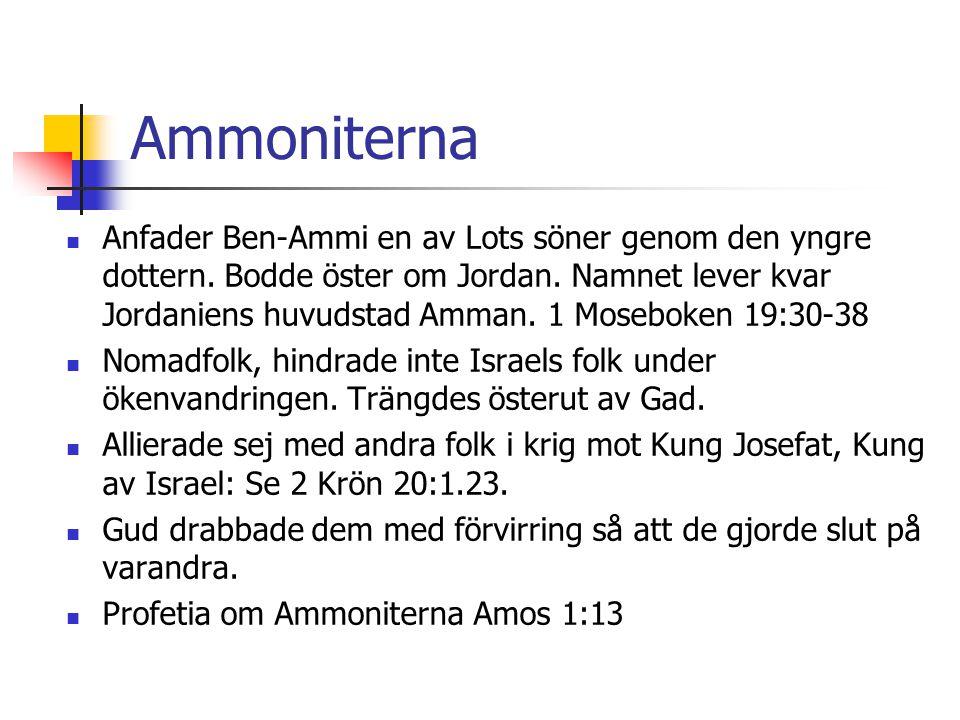 Ammoniterna  Anfader Ben-Ammi en av Lots söner genom den yngre dottern. Bodde öster om Jordan. Namnet lever kvar Jordaniens huvudstad Amman. 1 Mosebo