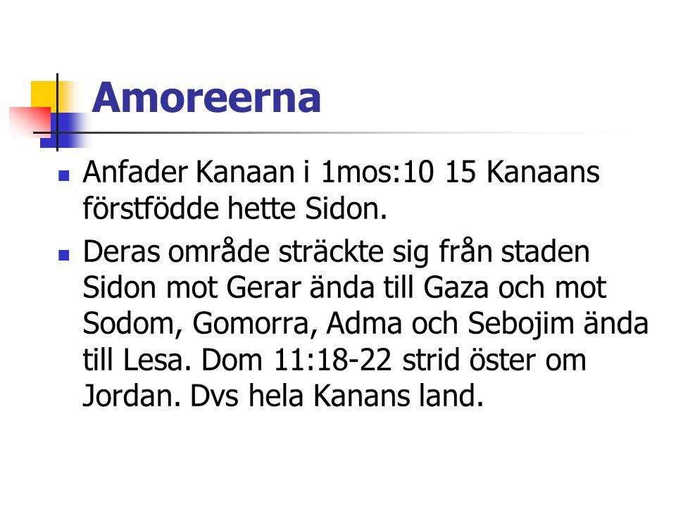 Amoreerna  Anfader Kanaan i 1mos:10 15 Kanaans förstfödde hette Sidon.  Deras område sträckte sig från staden Sidon mot Gerar ända till Gaza och mot