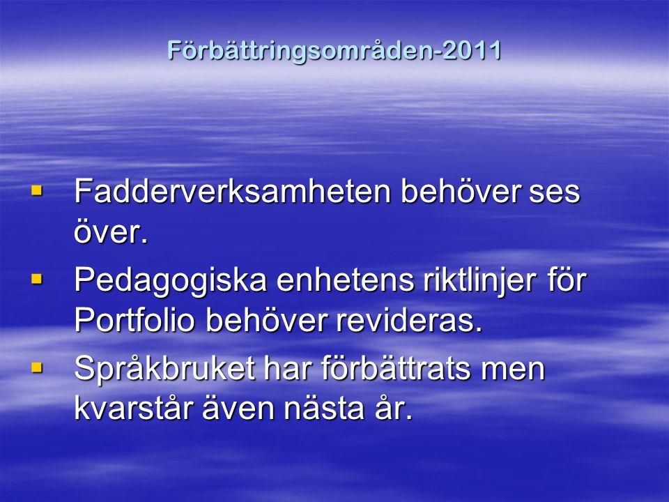 Förbättringsområden-2011  Fadderverksamheten behöver ses över.
