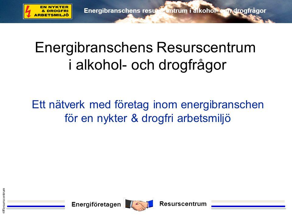 Energiföretagen Resurscentrum © Resurscentrum Energibranschens resurscentrum i alkohol- och drogfrågor 1993 (hösten) Idén föds - Stockholm Energi AB 1994 (våren) Upptaktskonferens – branschföretag (Mälardalen och de större företagen, 11 st) 1994 (hösten) Första nätverkskonferens i Stockholm 1996 (våren) Konferens i Sollentuna (manifesterar säkerhetsfrågan) Hur startade nätverket.