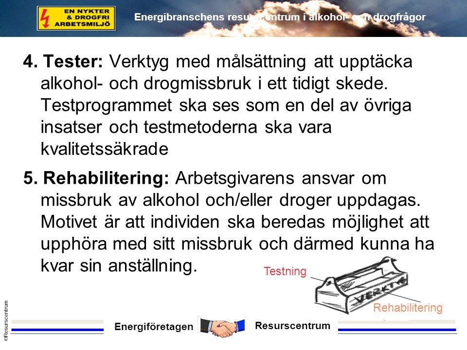 Energiföretagen Resurscentrum © Resurscentrum Energibranschens resurscentrum i alkohol- och drogfrågor 4. Tester: Verktyg med målsättning att upptäcka