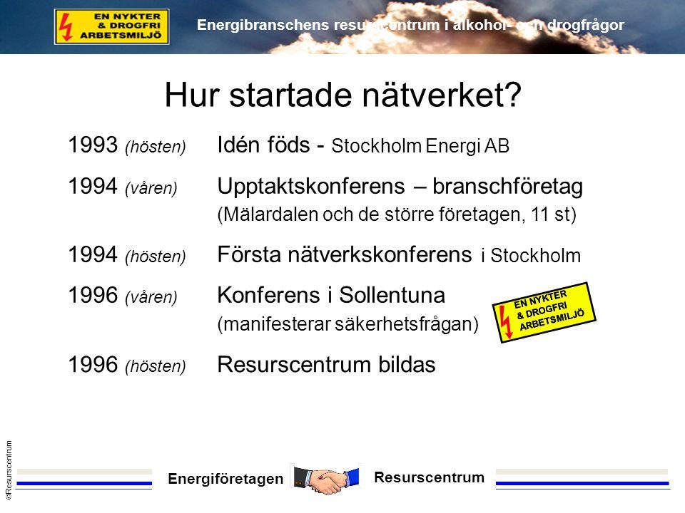 Energiföretagen Resurscentrum © Resurscentrum Energibranschens resurscentrum i alkohol- och drogfrågor 1993 (hösten) Idén föds - Stockholm Energi AB 1