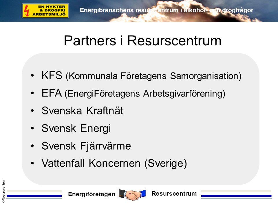 Energiföretagen Resurscentrum © Resurscentrum Energibranschens resurscentrum i alkohol- och drogfrågor •KFS (Kommunala Företagens Samorganisation) •EF